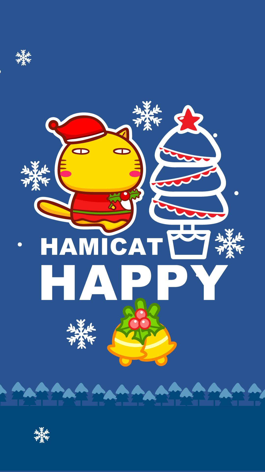 哈咪猫圣诞节亮色手机壁纸