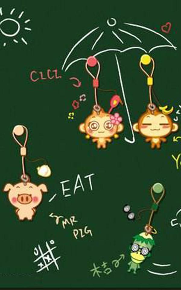 嘻哈猴萌萌卡通手机壁纸