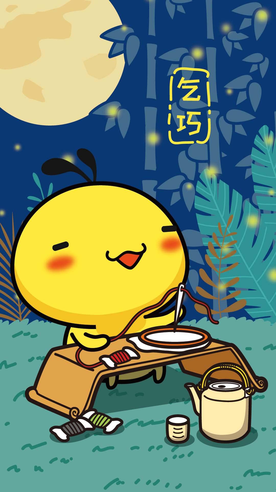 摩丝哈咪猫月下七夕手机壁纸