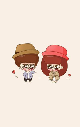 可爱情侣卡通头像手机壁纸