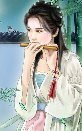动漫汉服少女手绘素材