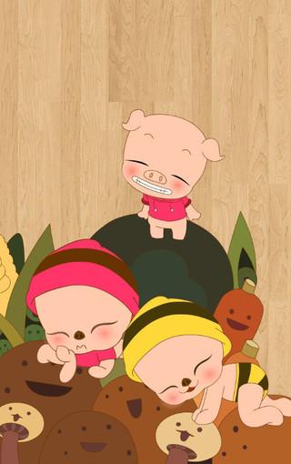 毕加猪可爱卡通手机壁纸